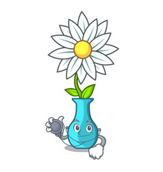 doctor vase with bouquet of beautiful cartoon vector image