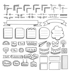 doodle design elements and frames vector image