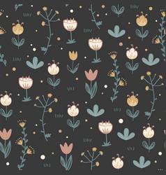 doodle floral seamless pattern scandinavian vector image