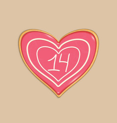 Double layered cookie with a heart shaped vector