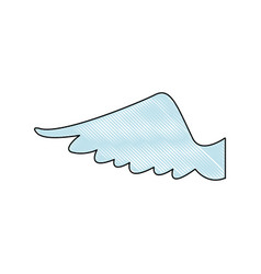 Drawing wing feather bird angel icon vector