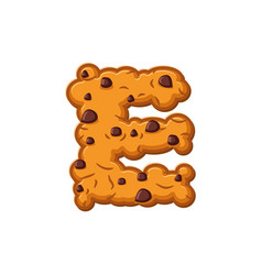 E letter cookies cookie font oatmeal biscuit vector