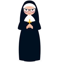Elderly catholic nun vector