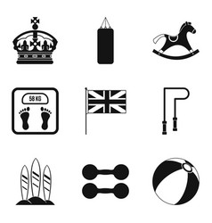 English sport icons set simple style vector