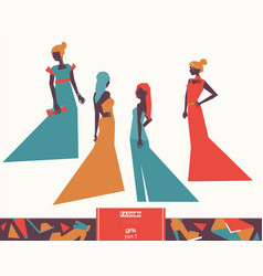 Fashion girls in different evening dresses vector
