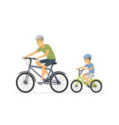 father and son cycling - cartoon people characters vector image