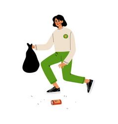 Female volunteer gathering garbage and plastic vector
