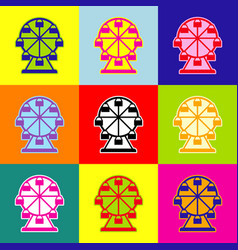 ferris wheel sign pop-art style colorful vector image