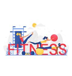 fitness word cartoon flat vector image