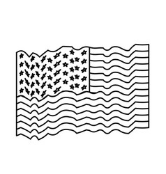 flag united states of america waving monochrome vector image