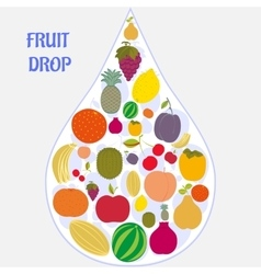 Flat fruit icons collected in the form of a drop vector image