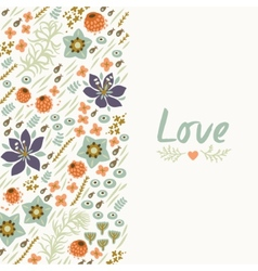 Floral card with heart vector