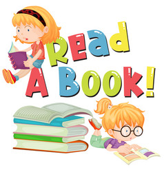 Font design for word read a book with kids reading vector