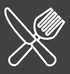 Fork and knife line icon dinner and restaurant vector