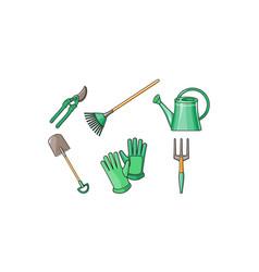 gardening tools icons set pruner shovel fan vector image