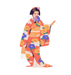geisha standing with fan in colorful kimono vector image
