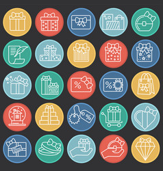 gifts line icons set on color circles black vector image