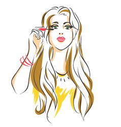 Girl puts mascara on her eyelashes vector