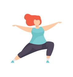 Girl standing in hero yoga position obesity woman vector