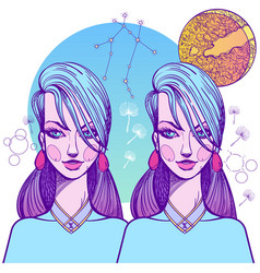 Girl symbolizes the zodiac sign gemini pastel vector