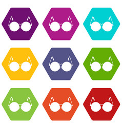 Glasses for blind icon set color hexahedron vector