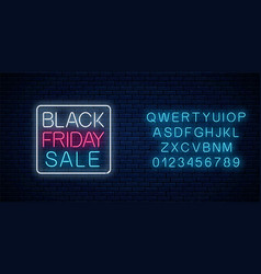 Glowing neon sign black friday sale with vector