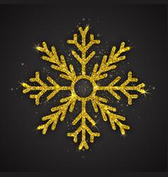 golden sparkling snowflake vector image