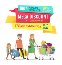 Half price banner happy family and shopping bags vector
