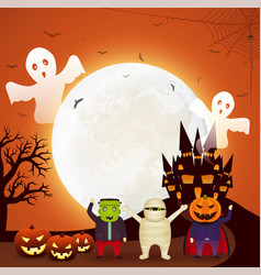halloween fun party with children dressed in vector image