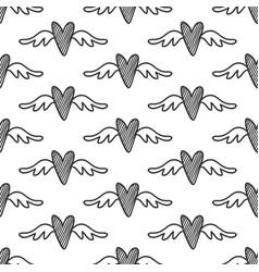 hand drawn hearts seamless pattern vector image