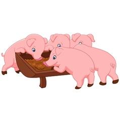 Happy farm pig vector image