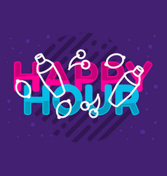 Happy hour design pink sky blue purple colors vector