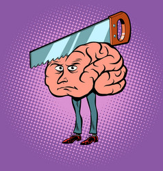 Headache saw in brain vector