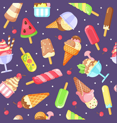 ice cream flat colorful seamless pattern vector image
