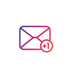 incoming message icon with notification linear vector image