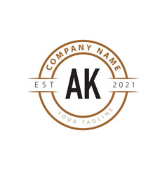 Initial letter ak vintage logo design template vector
