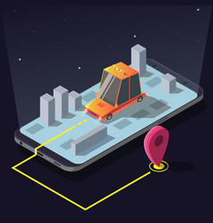 Isometric taxi car order service app yellow cab vector