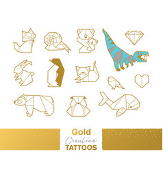 Metallic temporary tattoos gold silver origami vector