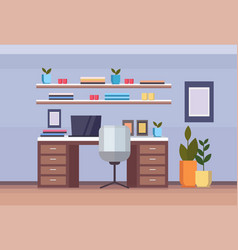 Modern home office workplace cabinet empty vector