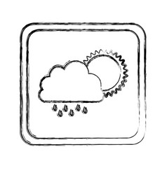 Monochrome blurred square frame with cloud with vector