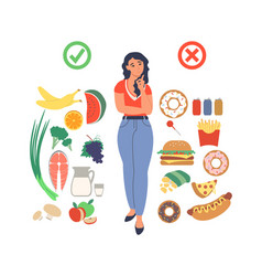 Obesity and weight problems young woman choosing vector