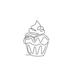 One single line drawing fresh sweet muffin vector