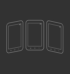 outlined smartphones on black vector image