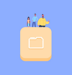 people group on database folder icon creative team vector image