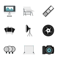 Photo icons set flat style vector