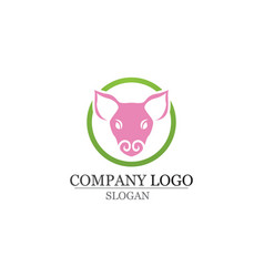 pig head logo design template pork bbq grill vector image