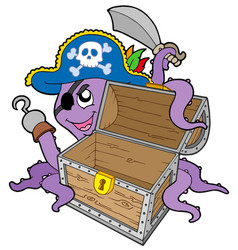 pirate octopus with chest vector image