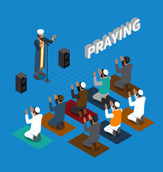 Praying in islam isometric composition vector