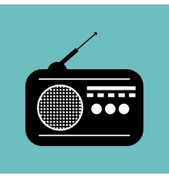 radio news black icon graphic vector image