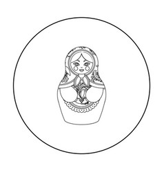 Russian matrioshka icon in outline style isolated vector